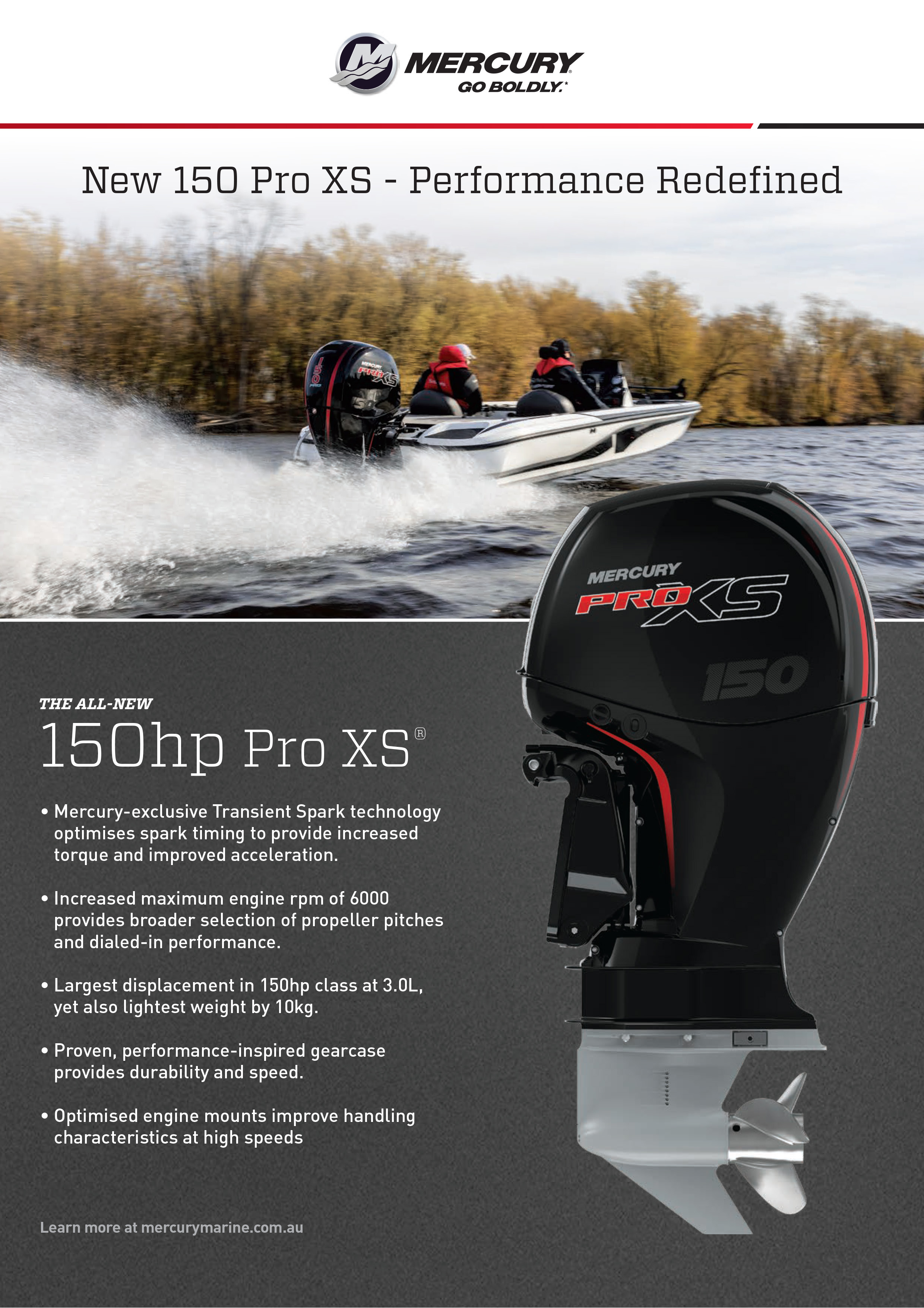 Building on the success of the mercury 115 pro xs fourstroke mercury marine has created its new 150 pro xs fourstroke an engine which sets a new standard